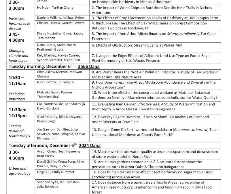 Class presentation schedule
