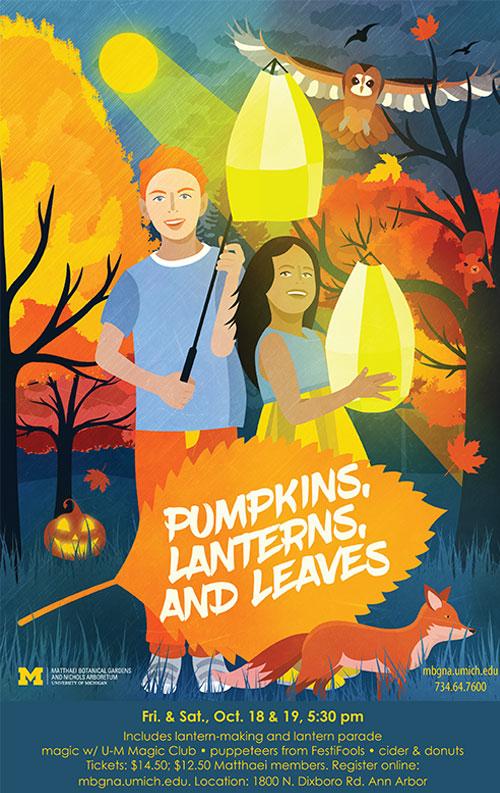 Pumpkins Lanterns and Leaves