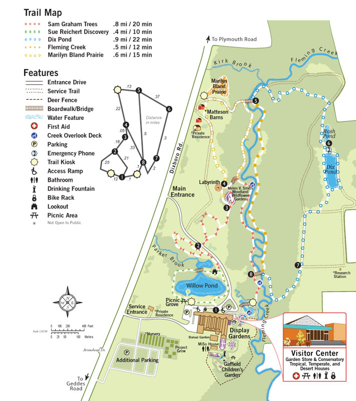Trail map for Matthaei Botanical Gardens