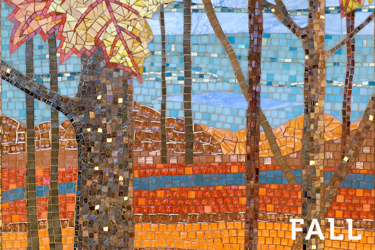 A mosaic depicting a Michigan autumn forest