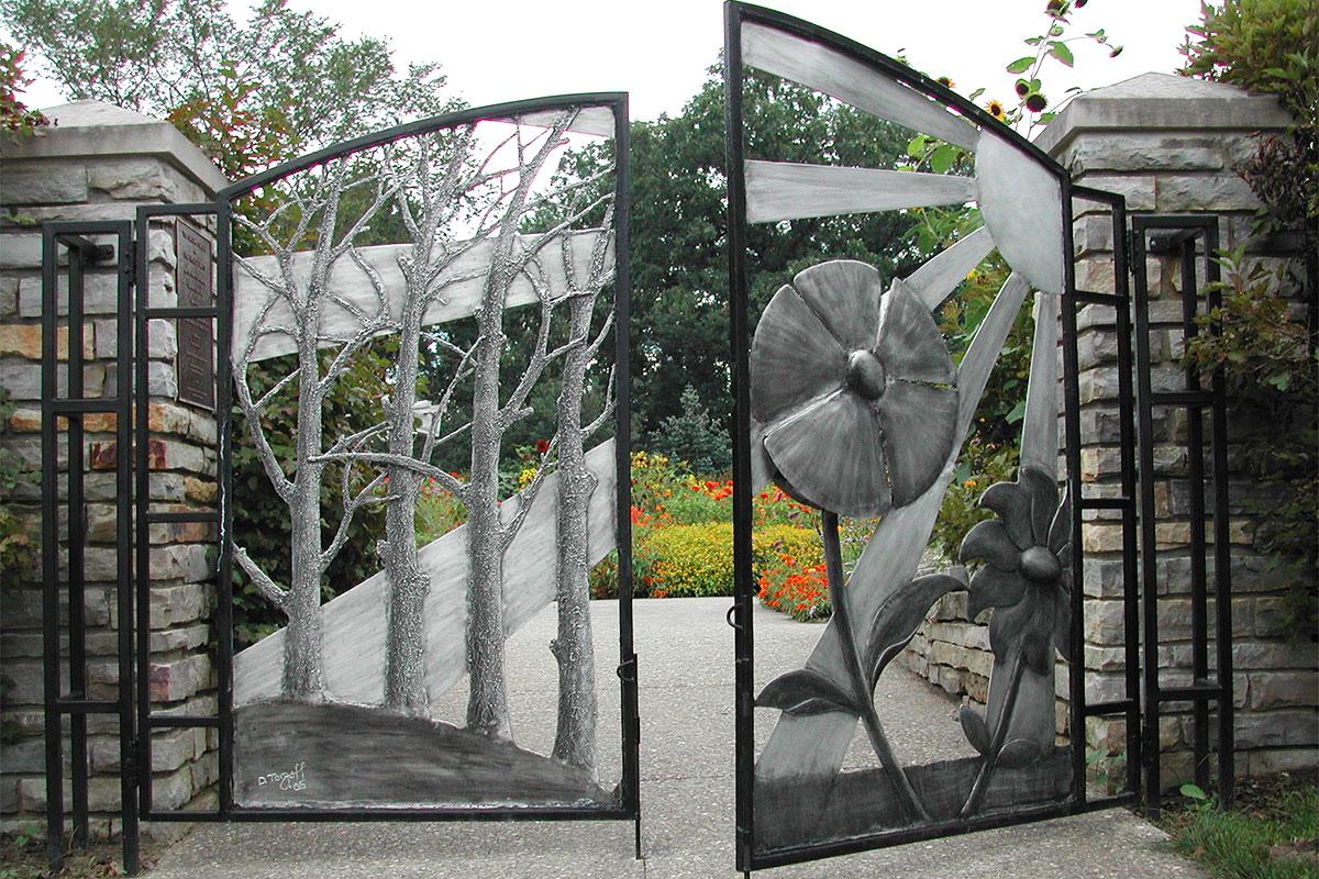 Entry gates at the Gateway Garden at matthaei