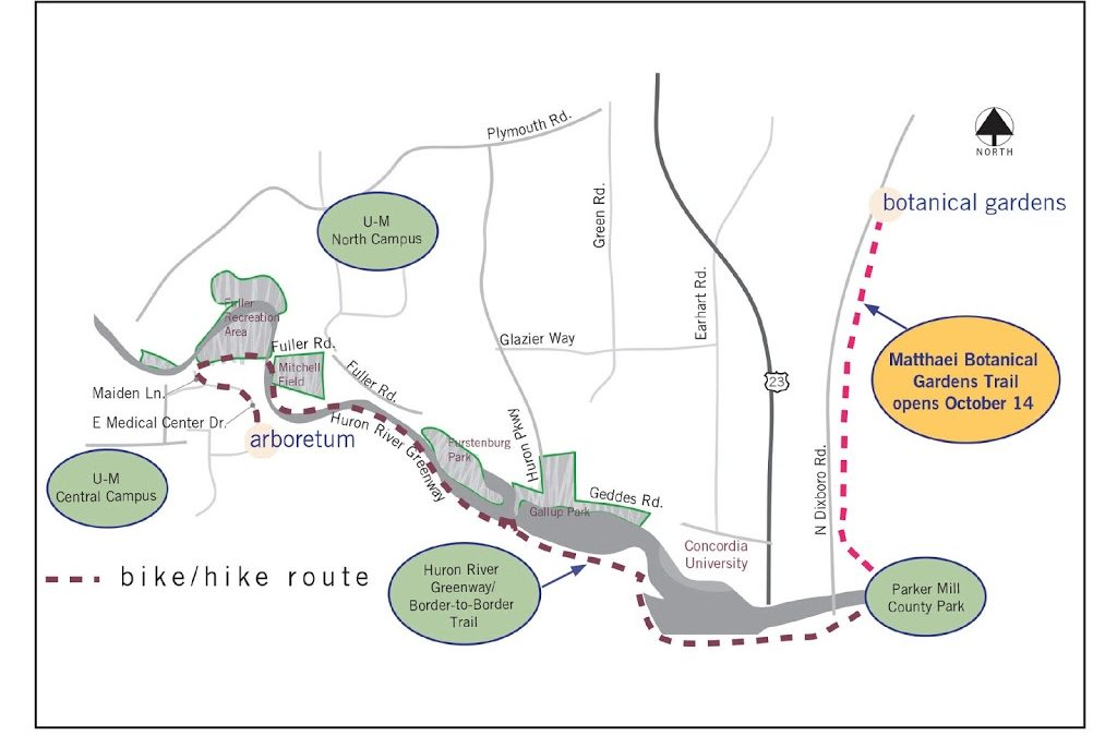 Trail opens linking University of Michigan botanical gardens with campus and area trail systems