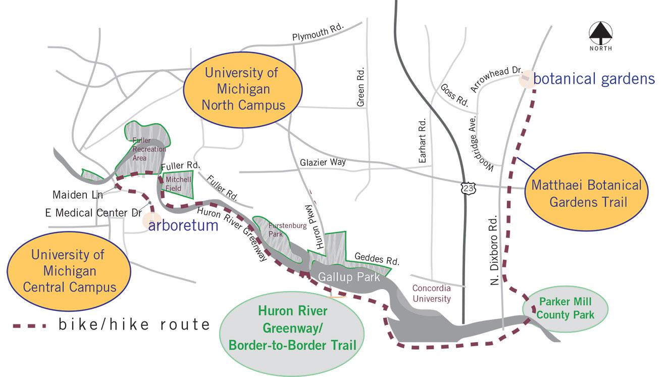 A map of the Matthaei Botanical Gardens Trail