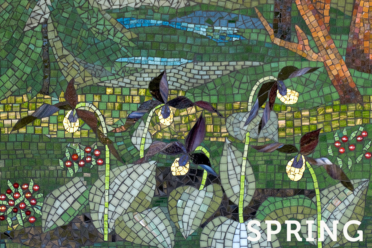 A mosaic depicting a Michigan spring scene