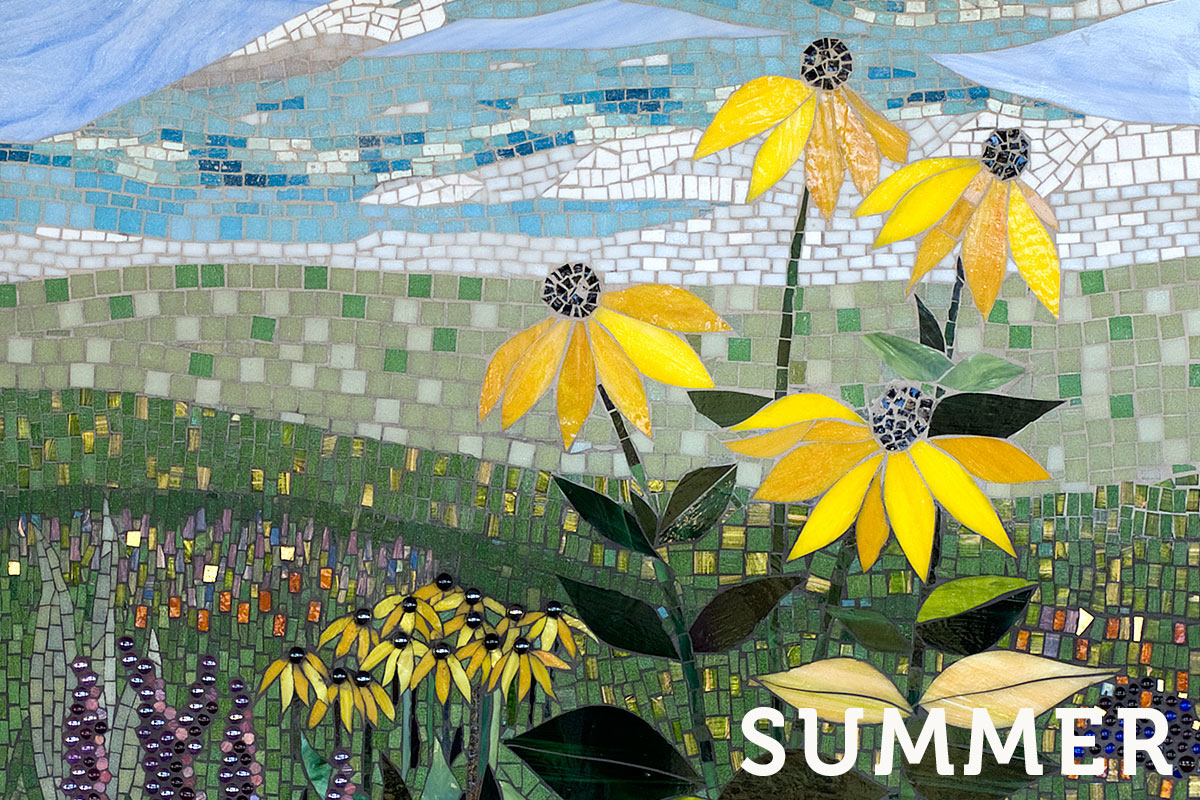 A mosaic depicting a Michigan summer meadow