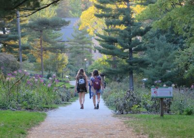 Students walking along the path in the peony garden at the Arb. (Photo by Michele Yanga.)