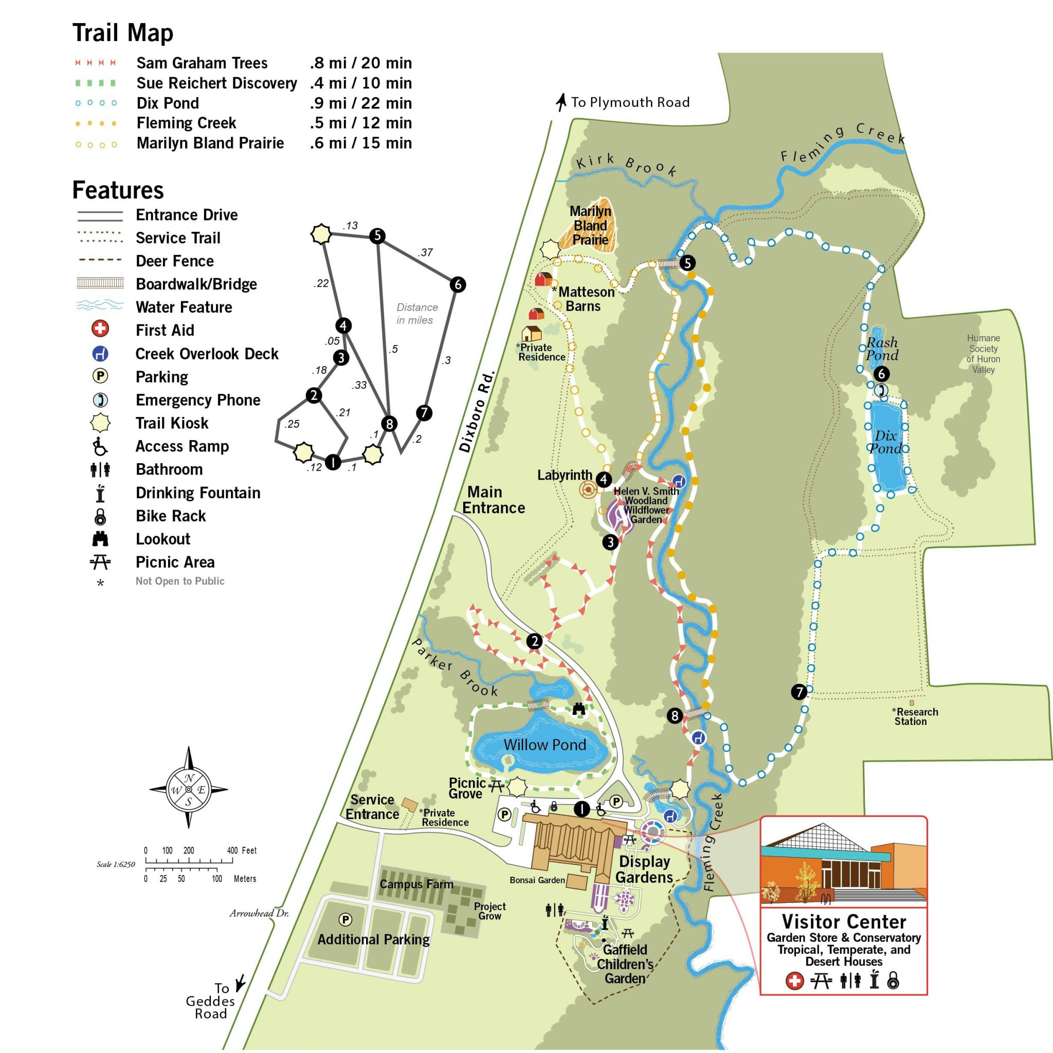 Trails Map U2013 Matthaei Botanical Gardens