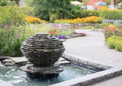 Erich Steiner fountain in the Gateway Garden at Matthaei