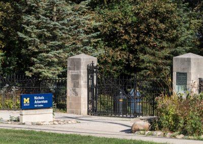 Geddes entrance gates to Nichols Arboretum