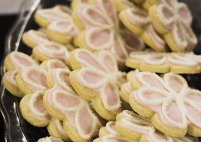 Sugar cookies shaped like flowers.