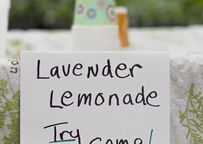 Sign that reads: Lavender lemonade, Try some!