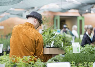 Man in orange shirt gathering plants for purchase.