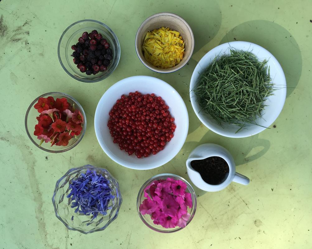 Bowls of flower petals