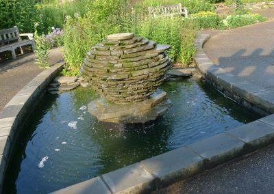 A fountain in the Gateway Garden at Matthaei.