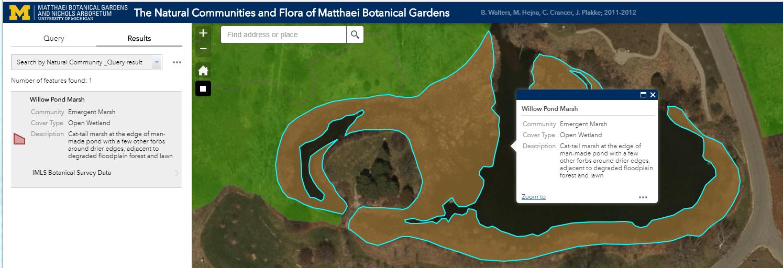 GIS map of Matthaei Botanical Gardens