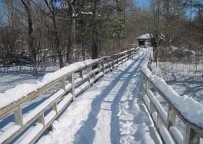 Snow-covered bridge at Matthaei.