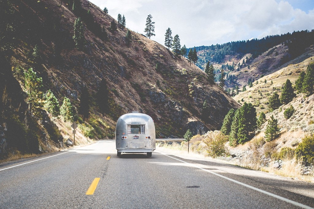 Bus driving in nature