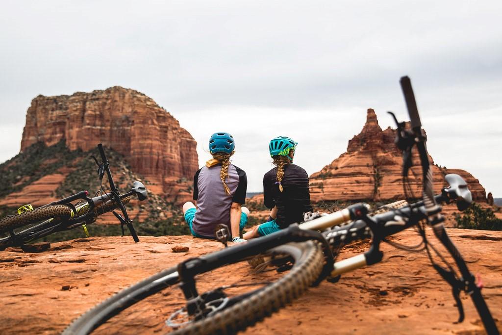 People biking in nature
