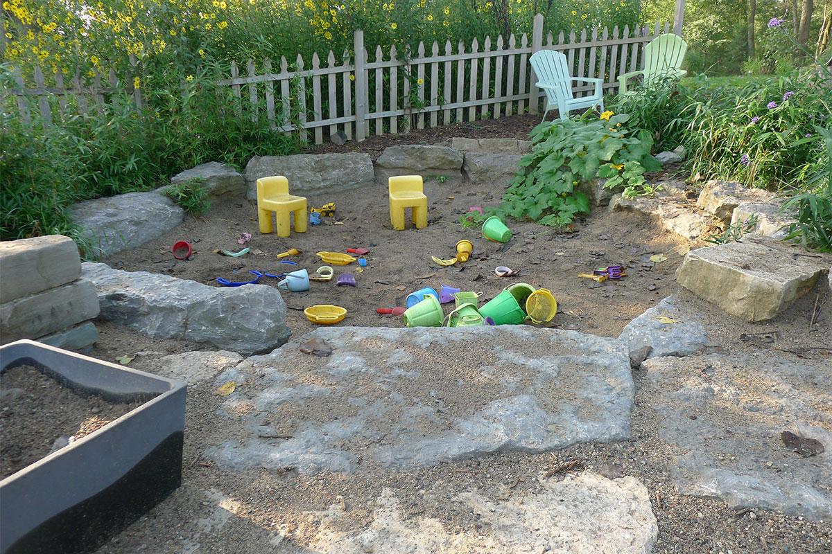 Sand pit children's garden Matthaei