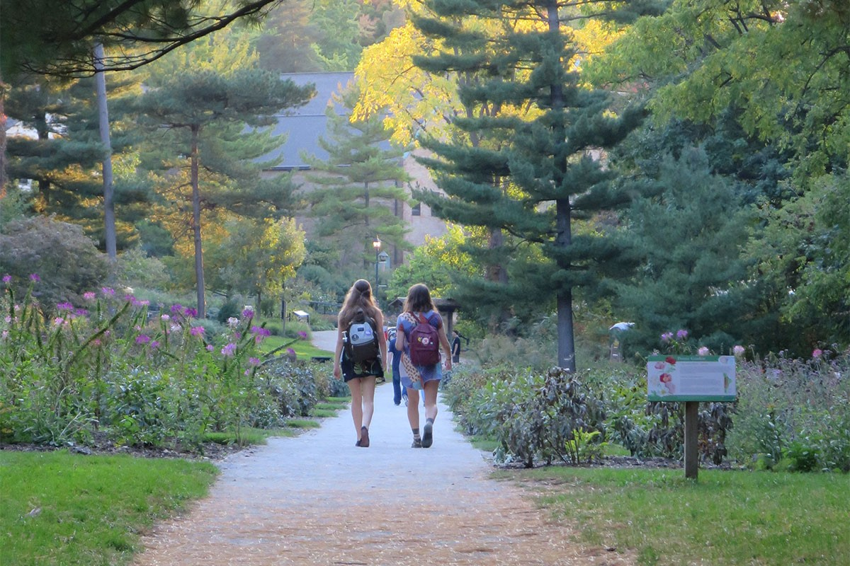 Students walking into the peony garden