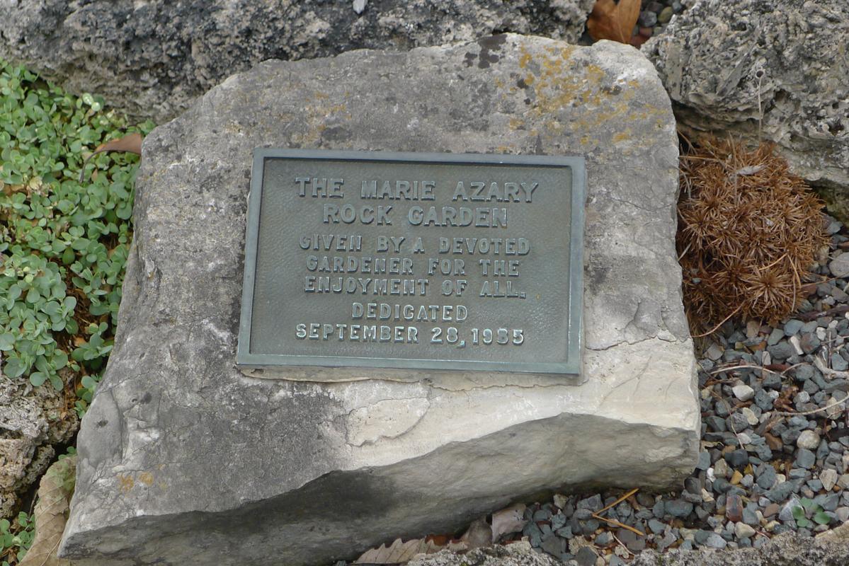 Rock garden dedication plaque