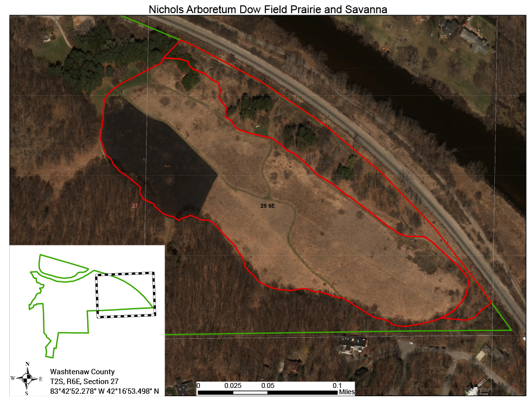 Nichols Arboretum Dow Field and Savanna Restoration_Map