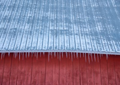 Ice on the shed roof at the Campus Farm