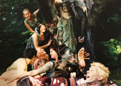 A scene from the 2001 production of Shakespeare in the Arb showing the seduciton of bottom showing the laughing fairy world. Photo by David Smith