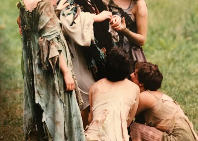 A scene from the 2001 production of Shakespeare in the Arb showing the seduciton of bottom. Photo by David Smith