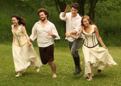A scene from the 2010 production of Shakespeare in the Arb showing Hermia Lysander Demetrius and Helena. Photo by Kent McCormick