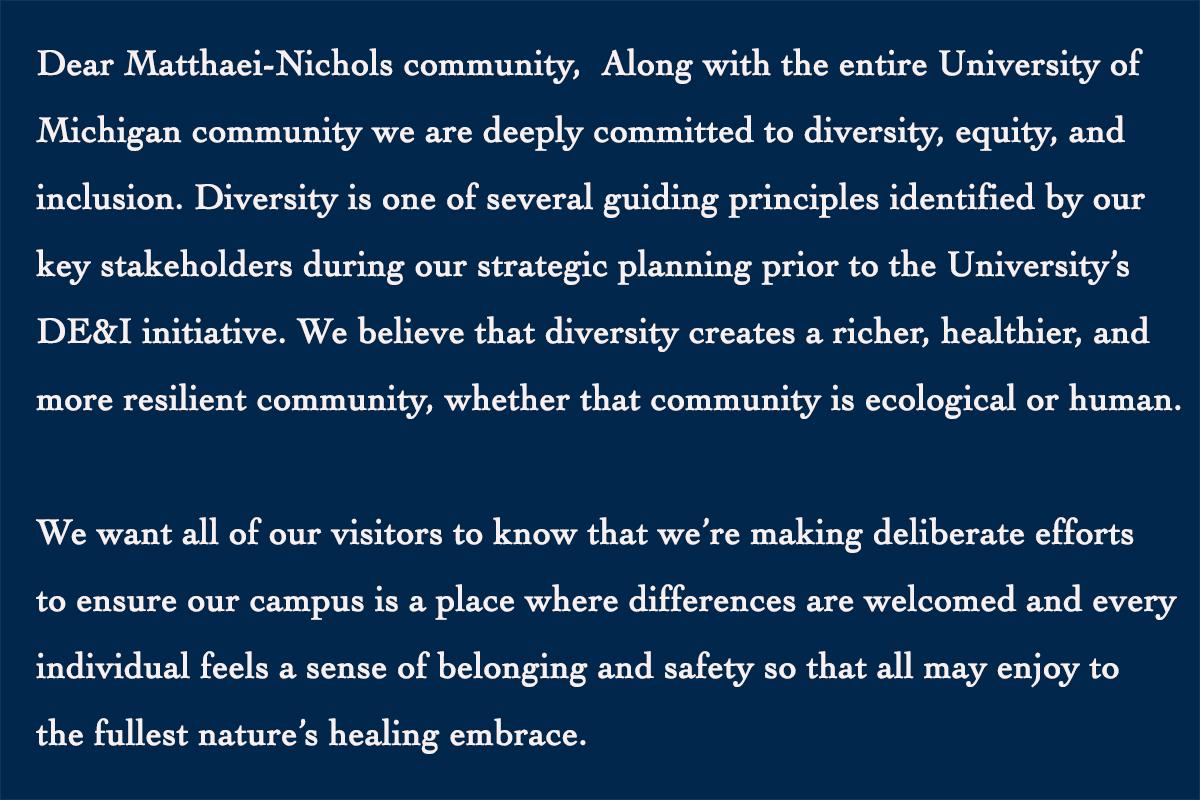 Diversity message from Matthaei-Nichols
