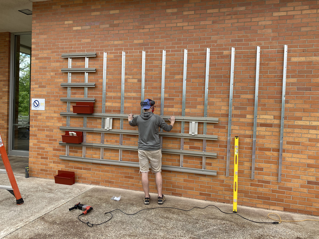 Working on the wall supports