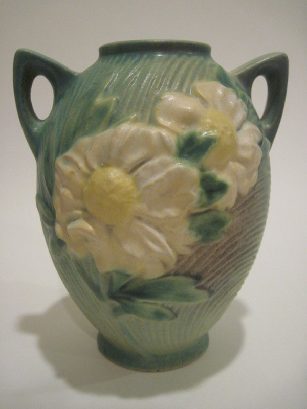 A Rosevilee pottery vase depicting peonies from Bob Grese, who got it from his parents.