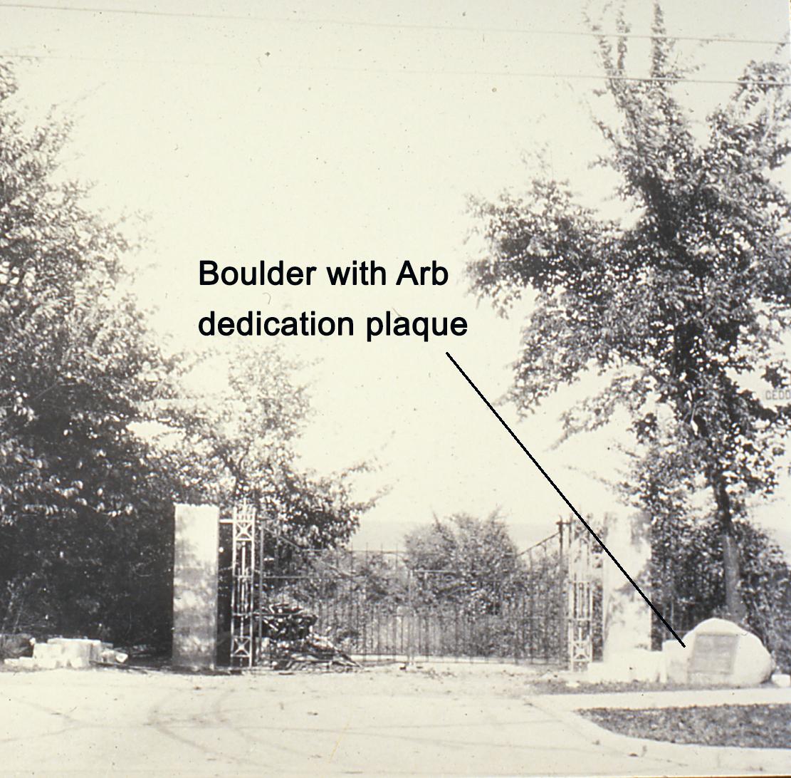 Geddes entrance with boulder-plaque