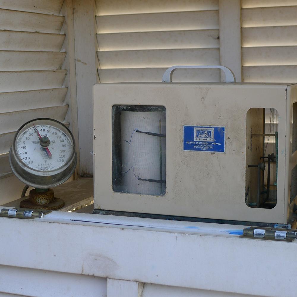 Temperature gauge at the Matthaei weather station